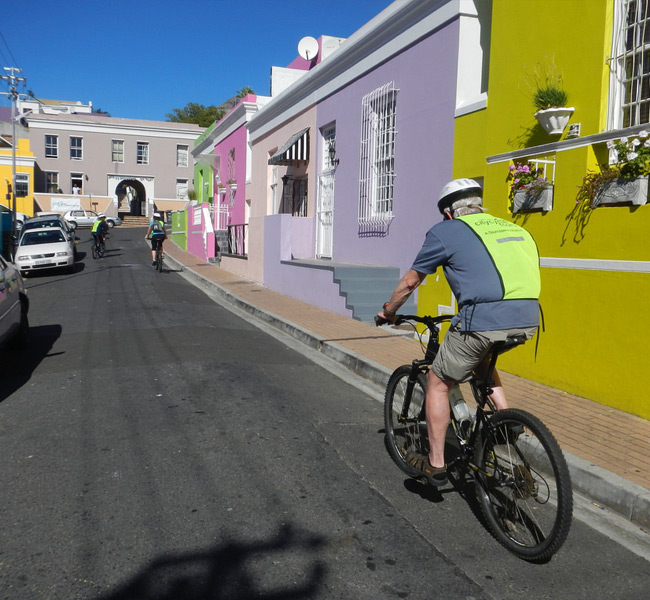 Cyclist riding through Bo-Kaap