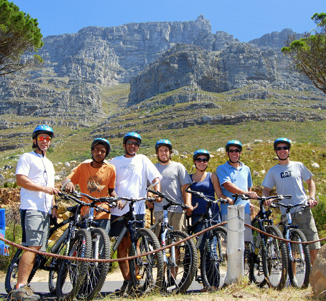 people cycling on table mountain